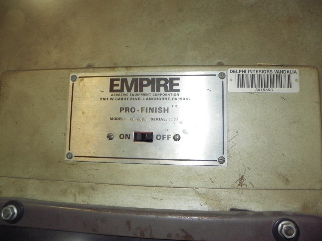 EMPIRE Pro-Finish PF-6060 Blast Cabinet, S/N 2522.  Year End Clearance Pricing!