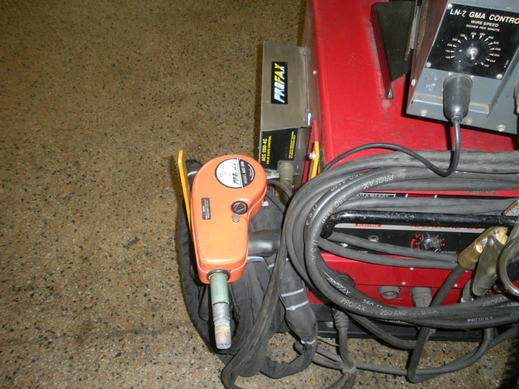 Lincoln Electric Idealarc CV-300 MIG Welder with LN7 Feed and Profax AEC 200-4C Feed.