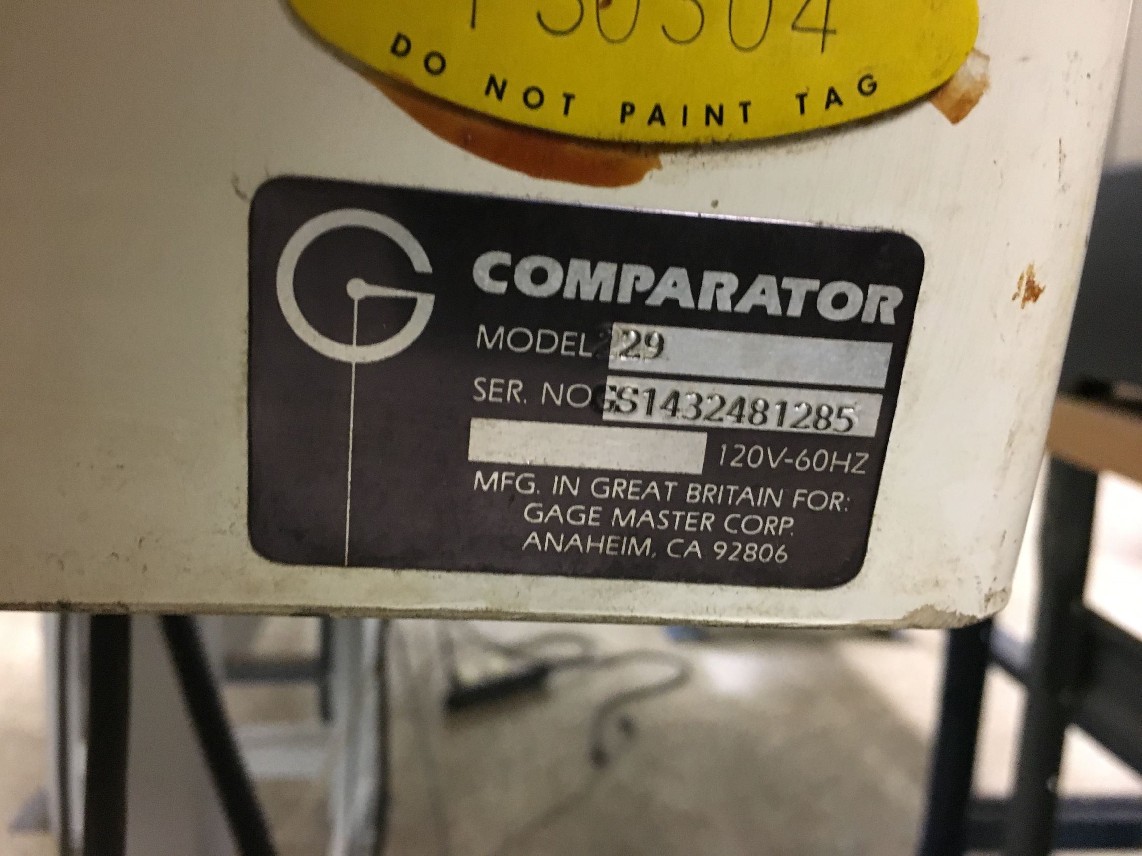 Gagemaster Bench Top Optical Comparator, s/n GS1432481285.