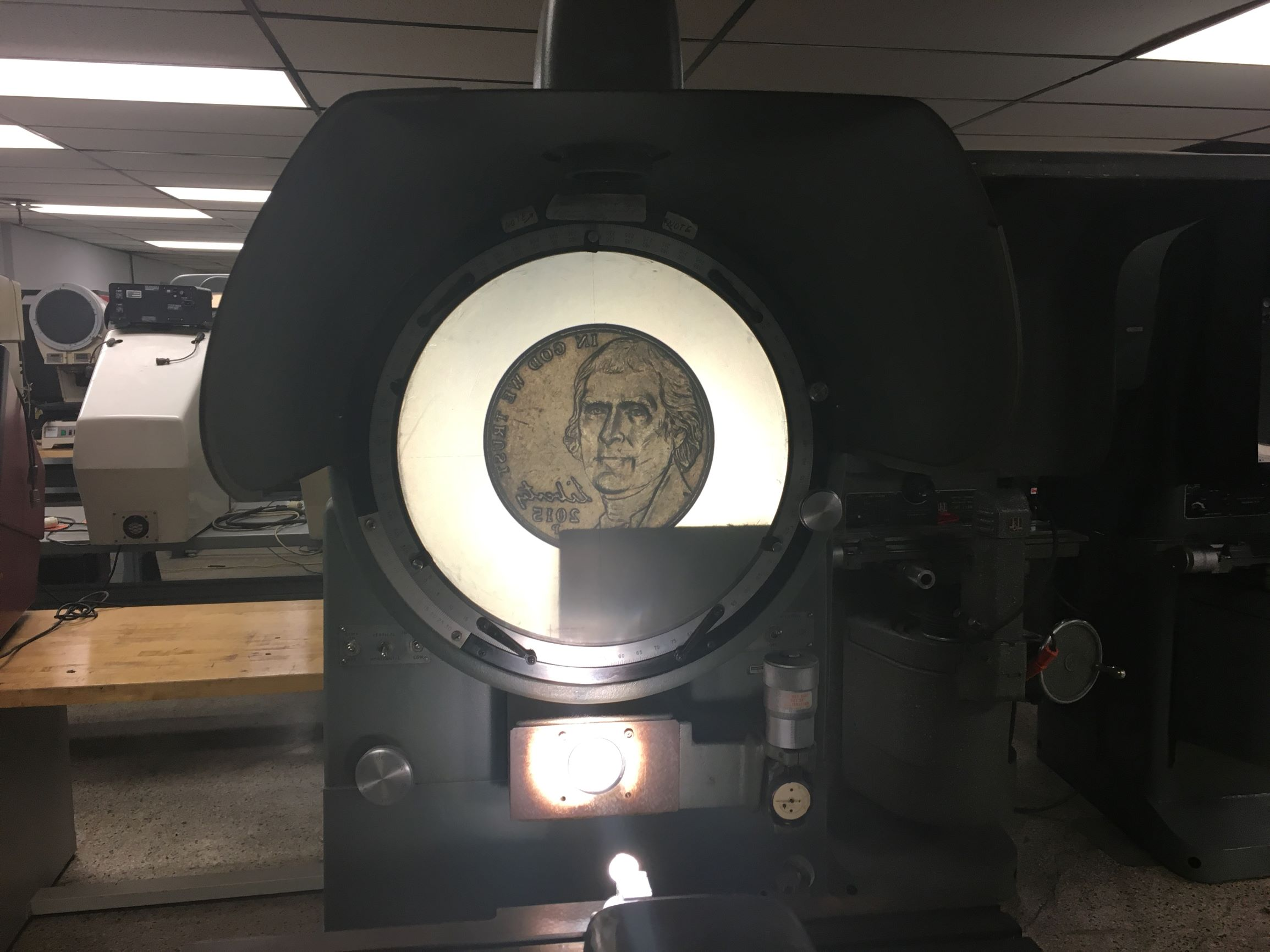 "14"" Excello Model 14-5 Floor Model Heavy Model Optical Comparator, S/N 8140089."