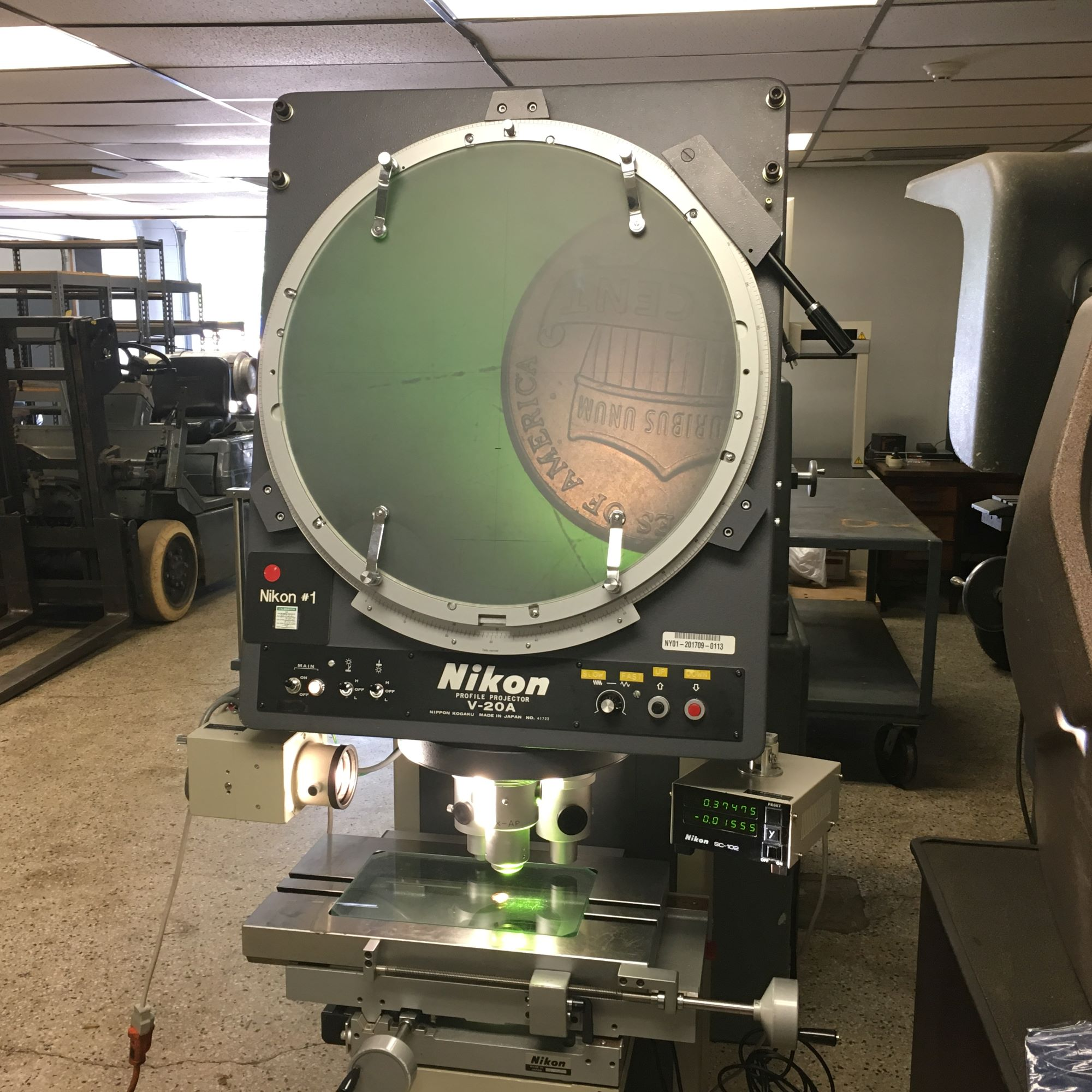 "20"" NIKON Model V-20A Vertical Beam Floor Model Optical Comparator / Profile Projector, S/N 41722."