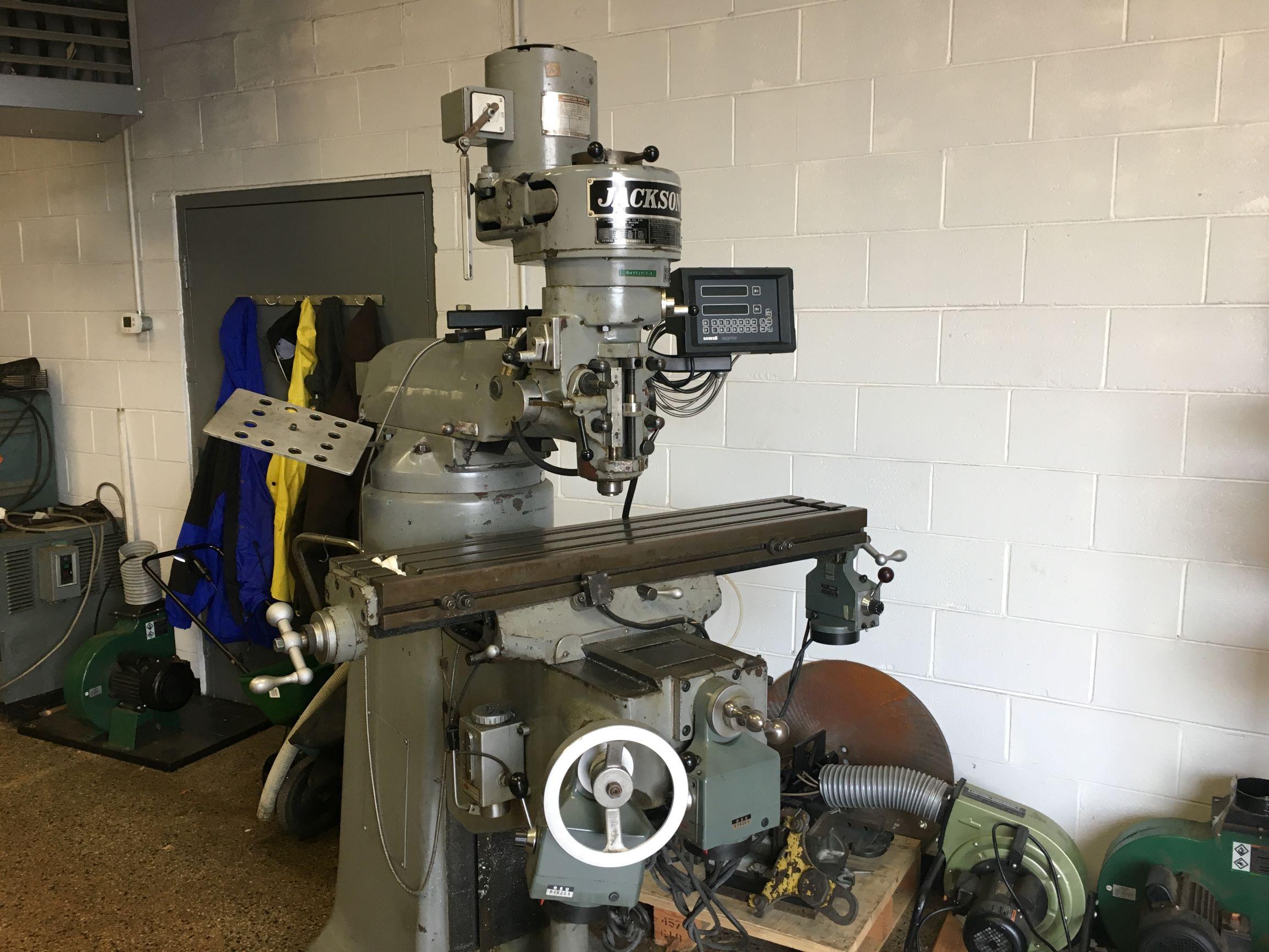 JACKSON (Cheng Ki) Model CK 1-1/2TM Step Pulley Vertical Mill, S/N 690157, New 1980.