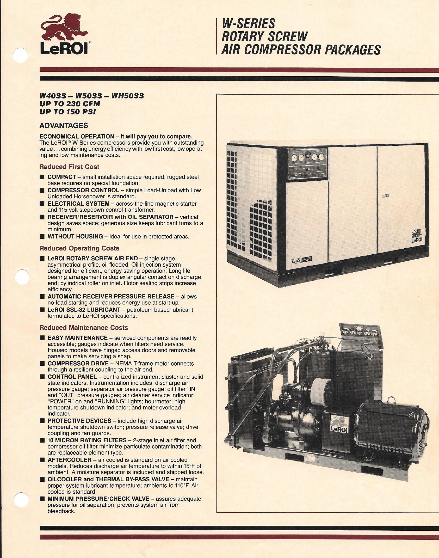 LeRoi Model W50SS 50 HP Rotary Screw Air Compressor, S/N 4166X10, New 1986.