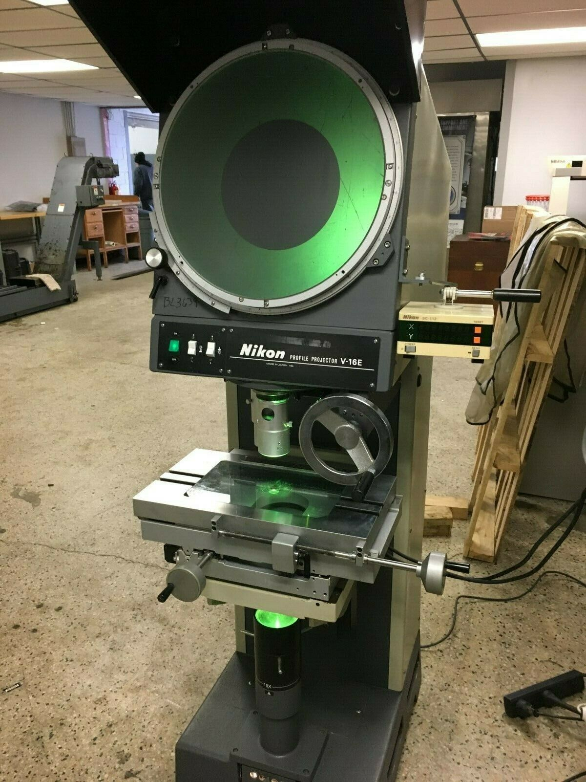 "16"" NIKON Model V-16E Vertical Beam Floor Model Optical Comparator, S/N 13147."