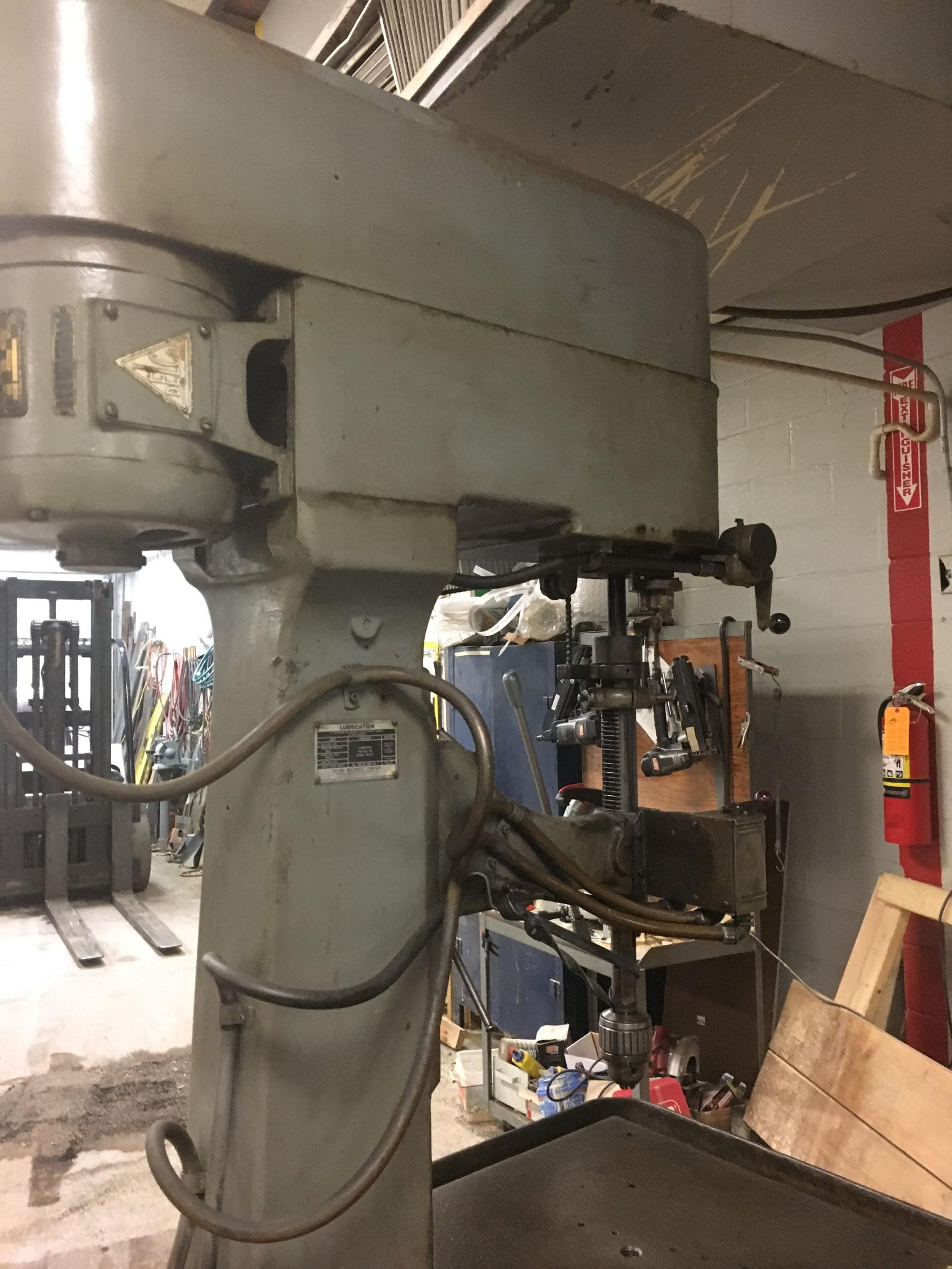 """30"""" Edlund 2F-15 Single Spindle Box Column Variable Speed Drill Press with tapping S/N 297, New 1950s."""