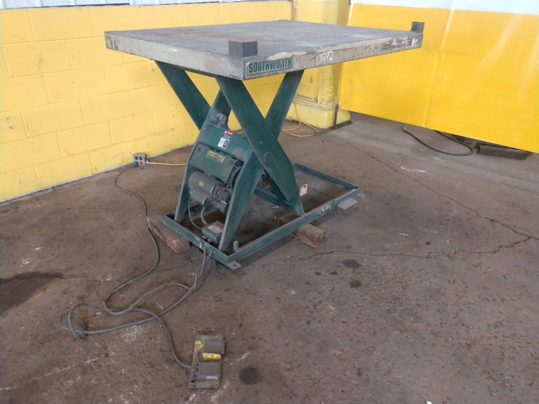 "4,000 LB x 54"" x 41"" SOUTHWORTH HYDRAULIC ELECTRIC SCISSOR LIFT TABLE: STOCK #13272"