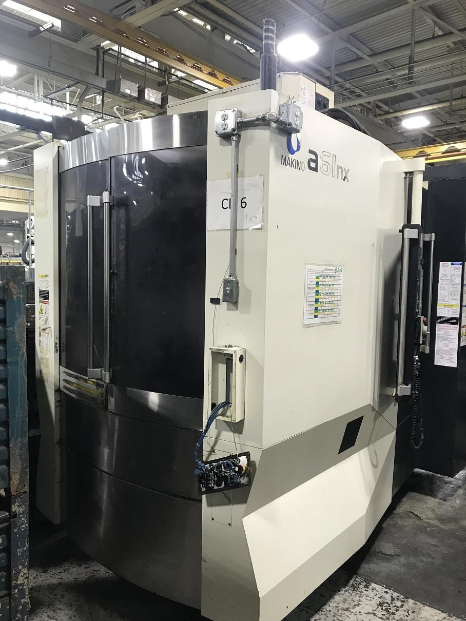 "Makino A-61NX CNC Horizontal Machining Center, Fanuc Pro 5 Control, 28.7""/25.6""/31.5"" Travels, 1100 Pound Capacity, 14K Spindle, HSK63 Taper, 60 ATC, 30 HP, Full 4th Axis, Coolant Through Spindle, Hydraulic Clamping,  Conveyor, 2011"