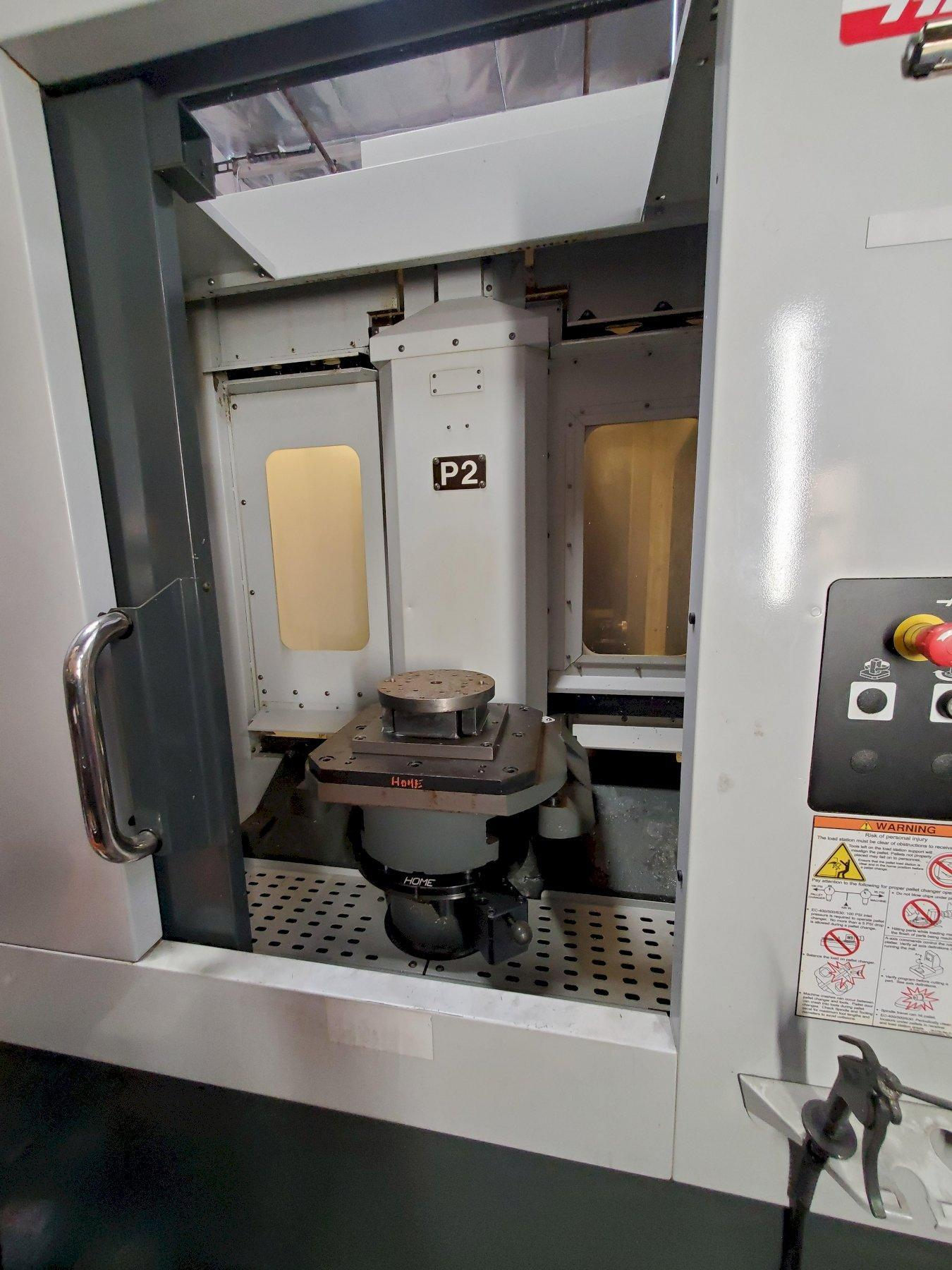 Haas EC-400-4AX HMC 2011 with: Dual Pallet, Probe, Through Spindle Coolant, 70+1 SMTC, 12k RPM Spindle, Programmable Coolant, High Speed Machining, and Chip Conveyor.