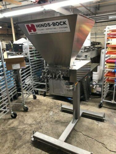 Hinds Bock Diving 6 Piston Depositor 2018 Model# 6P-01 with: 25 Gal Hopper, Bottle Stop, and 6' Conveyor.
