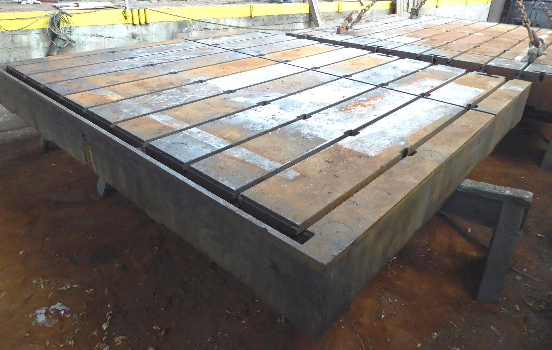 "108"" x 120"" Lake Shore T-Slotted Floor Plate, 12"" Thick, (10) T-Slots, Matching 144"" x 120"" Plate Available"