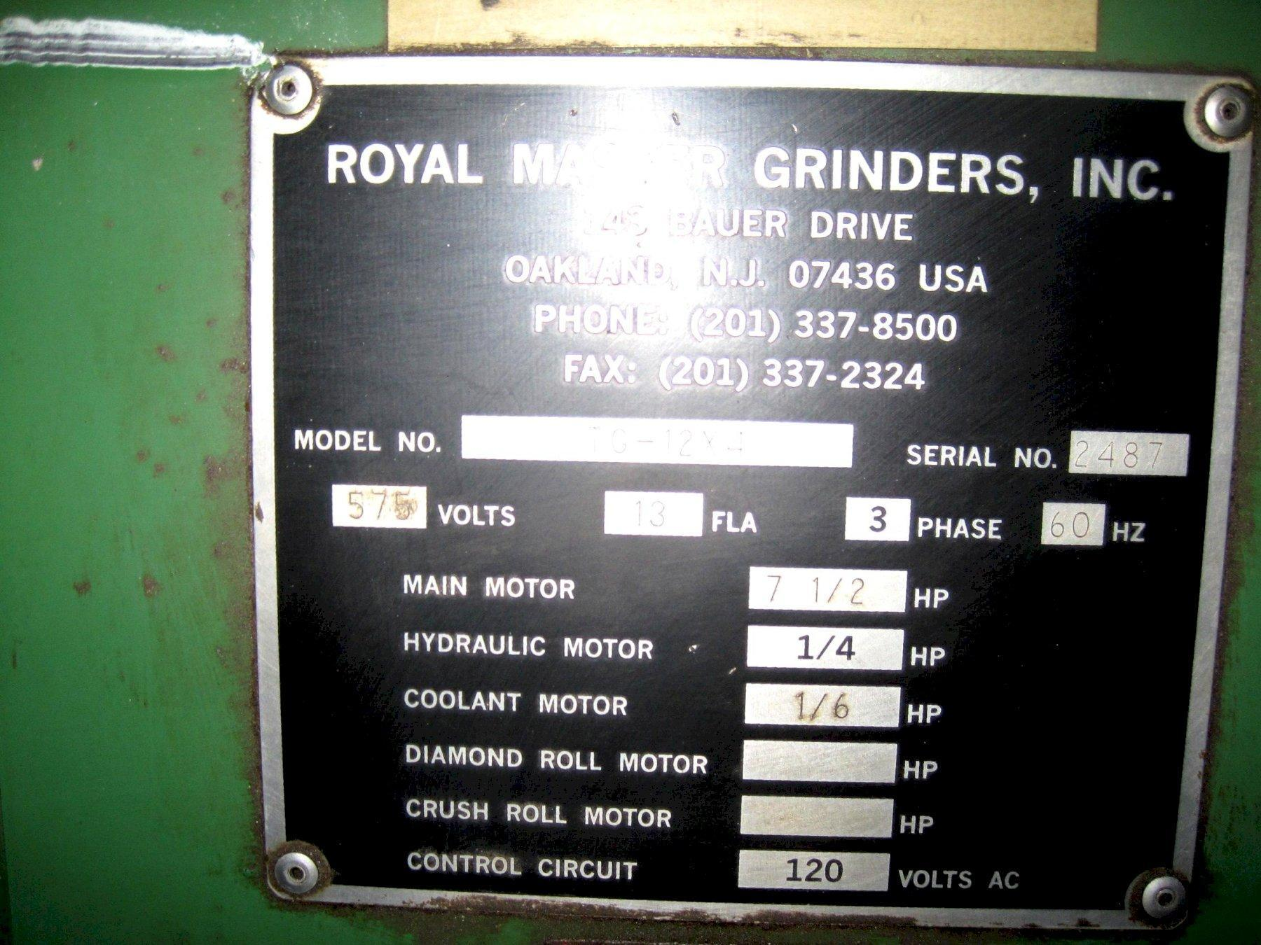 Royal Master TG12X4 Centerless Grinder