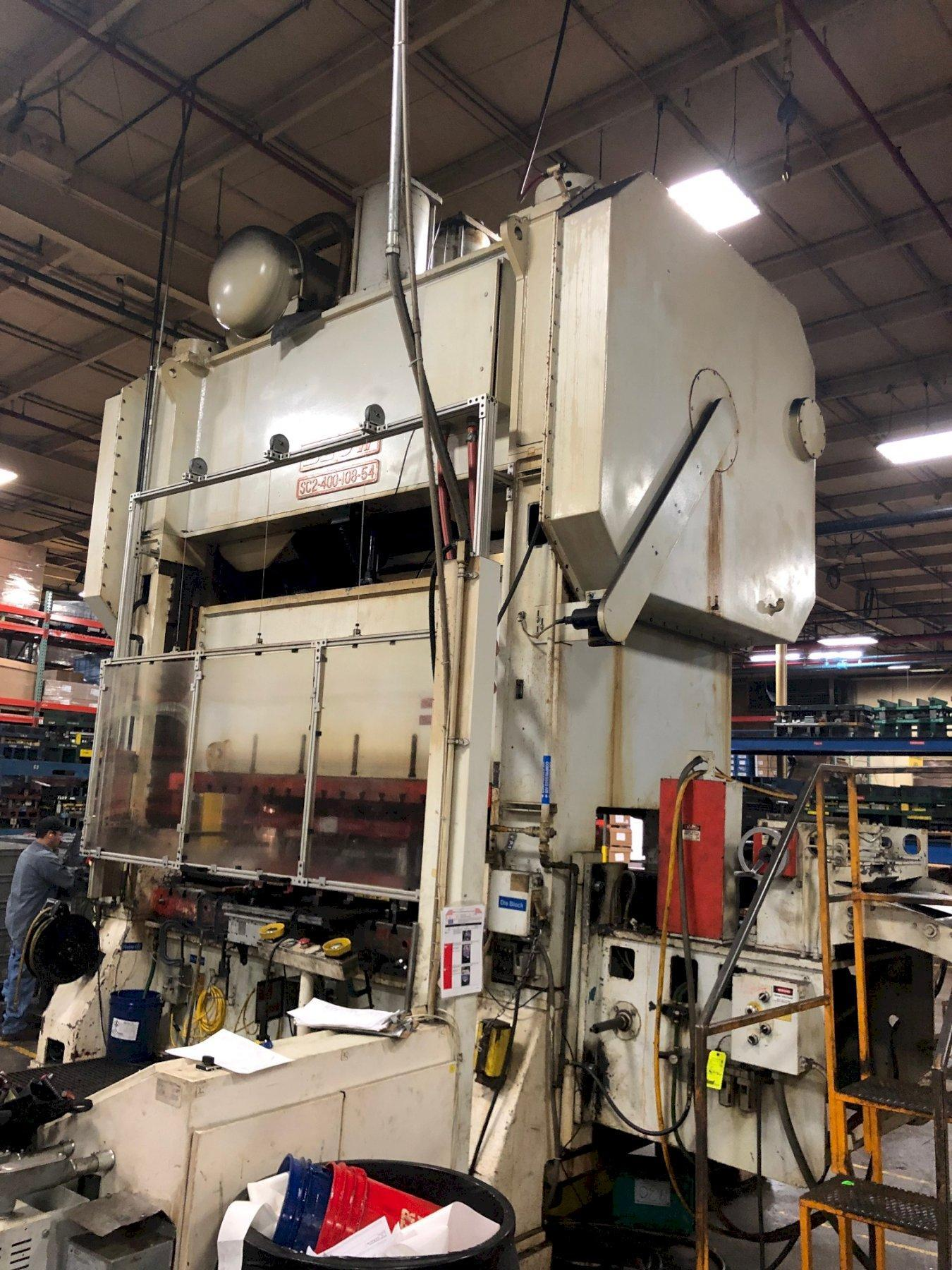 400 ton Blow SC2-400-108-54 Straight Side Press, New 1997 - Rebuilt!