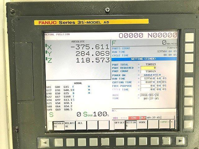 "FANUC ROBODRILL aT21iFL, Fanuc 31i CNC Control, 33"" x 16"" Table, X=27.5"",Y=16"",Z=13"", 10,000 RPM, 21 Station Tool Changer, Trunnion Table, New 2008."
