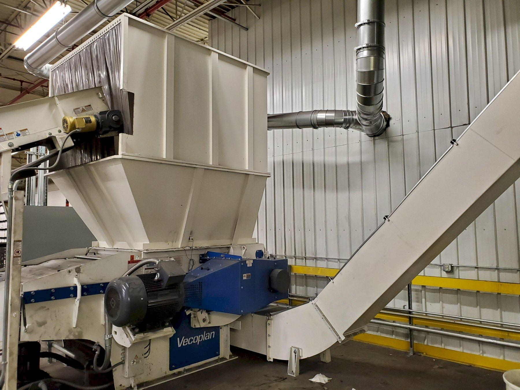 "52"" Used Shredding/Grinding Line with Vecoplan VAZ1300-L-XL Shredder & 150HP Rotogran Granulator, Yr. 2018"