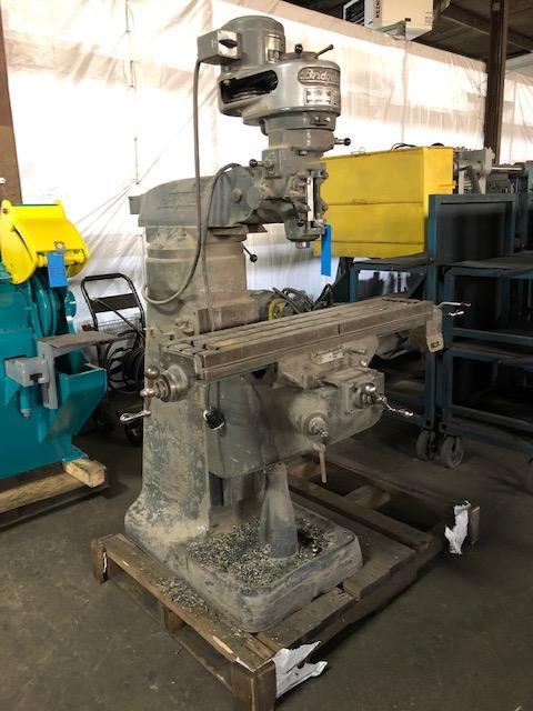 BRIDGEPORT 1 HP VERTICAL MILLING MACHINE S/N 12BR 165011, POWER FEED