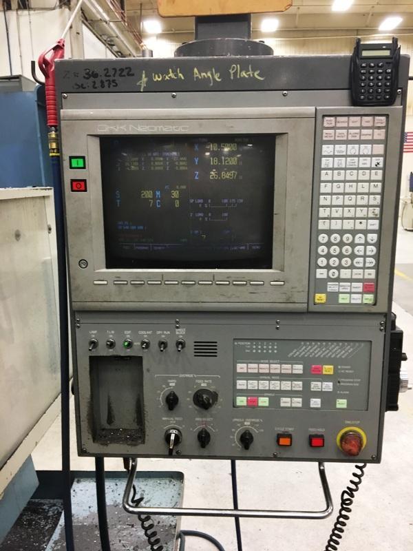 "OKK MCV-820 3-AXIS, OKK Mitsubishi Neomatic Meldas 500 Series CNC Controls, X=63"",Y=32.28"",Z=28.35"", 25HP, 4500 RPM, 30 ATC, New 1995."