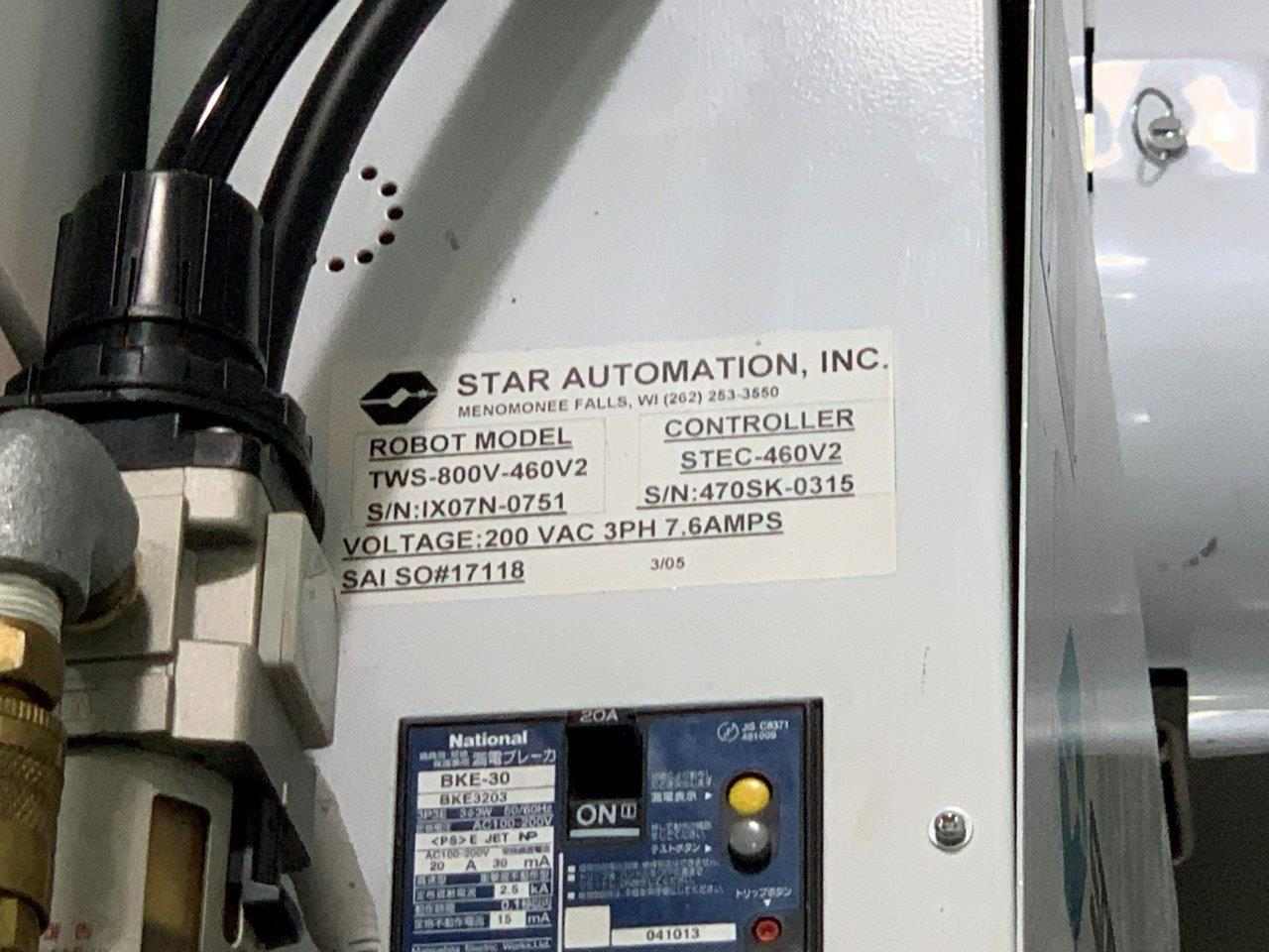 Star Automation Used TWS-800V-460V2 Full Servo Robot, 80-300 US ton, Yr. 2005