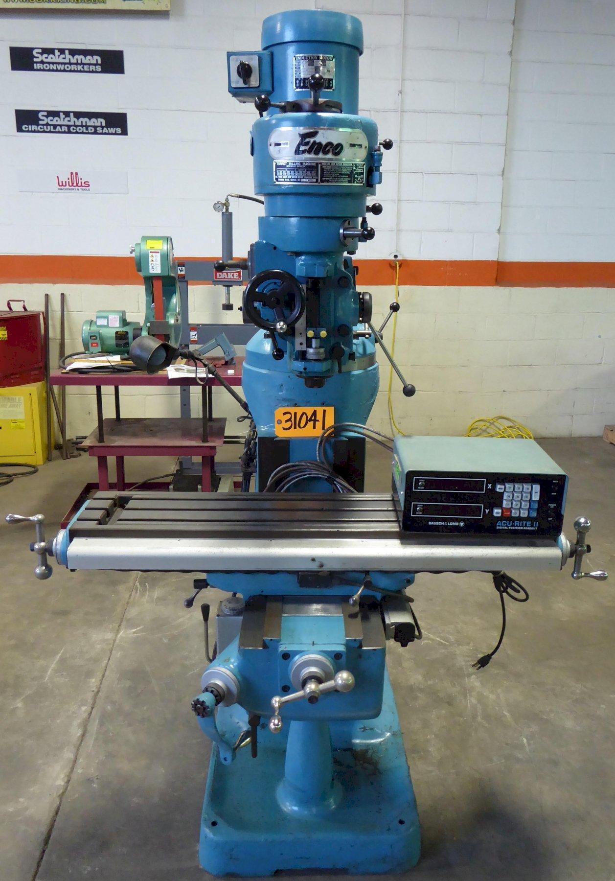 """Enco Vertical Mill, 9"""" x 42"""" Tbl., 80-2720 RPM, R-8, DRO, Clean"""