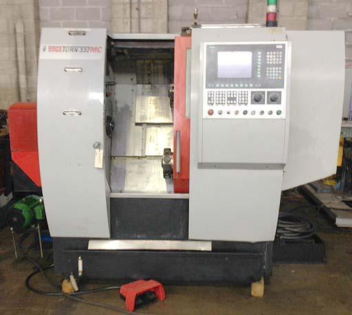 """EMCO 332MC, Siemens 840D CNC Control, Twin Spindles, Twin Turret, Live Tooling, C-Axis on Both Spindles, 1.25"""" Bar Capacity, 8.7 Max Turning Diameter, 20"""" Max Turning Length, New 2000."""