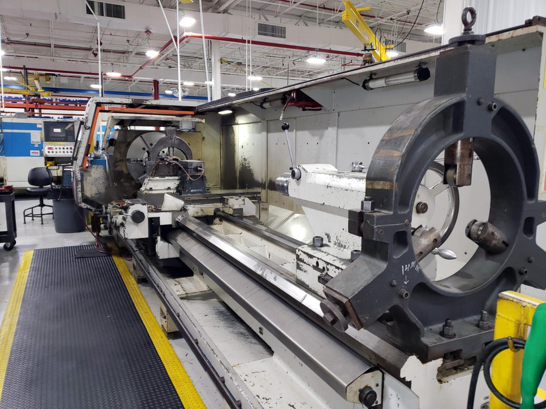 """USED, 35"""" X 177"""" WEILER MODEL E90 CNC HOLLOW SPINDLE LATHE WITH 14"""" SPINDLE BORE"""