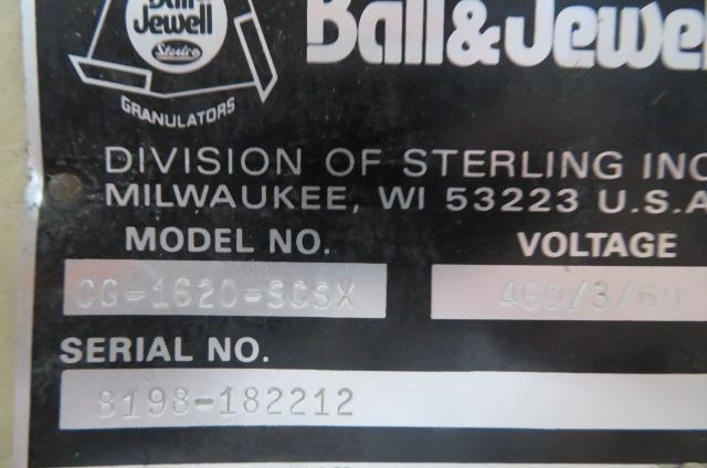 "Ball & Jewel Used CG-1620-SCXS Granulator, 17""x 20"", 30hp, 460V"