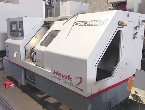 "CINCINNATI HAWK2 300, Siemens Acramatic 2100 CNC Control, 12"" 3-Jaw Power Chuck, 28"" Swing over Bed, 16.6"" Max Turning Diameter, 40"" Max Turning Length, Programmable Tailstock, New 2004."