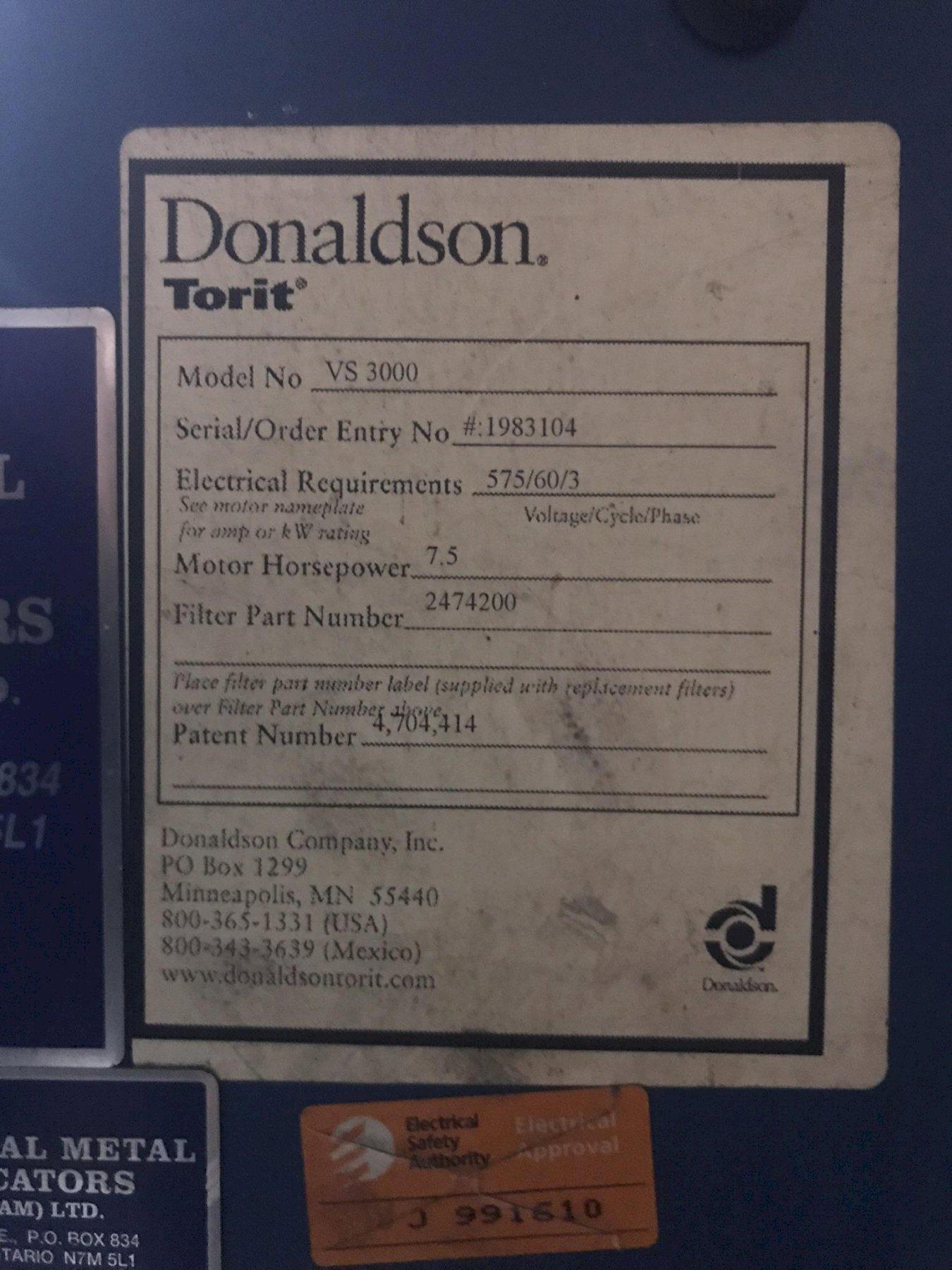 USED DONALDSON TORIT VIBRA SHAKE DUST COLLECTOR MODEL VS3000, Stk# 10722, Year 2005