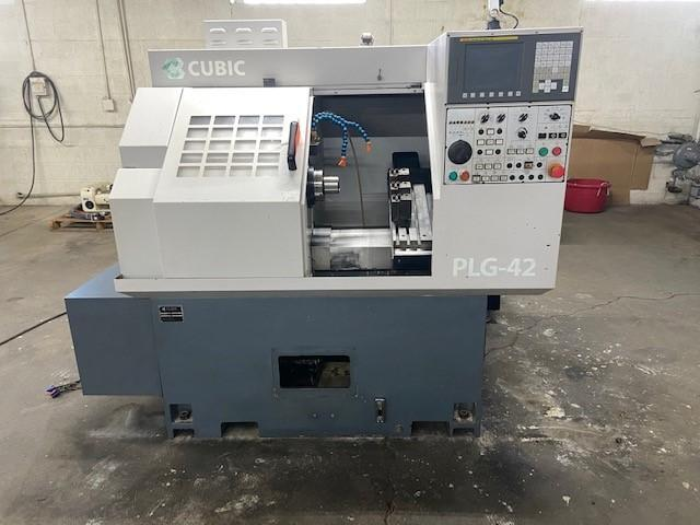 "Cubic PLG-42 CNC Gang-Style Lathe, Fanuc 0i, 6"" Chuck/Collet Chuck, 6"" Turn Dia., 1.65"" Bar Cap, 6K Spindle, Gang Tool Plate, BF Interface, Holders, 2010"