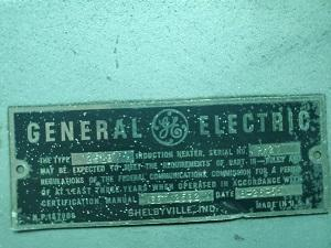 GE, No. HM-20-L1 INDUCTION HEATER   Our stock number: 114849