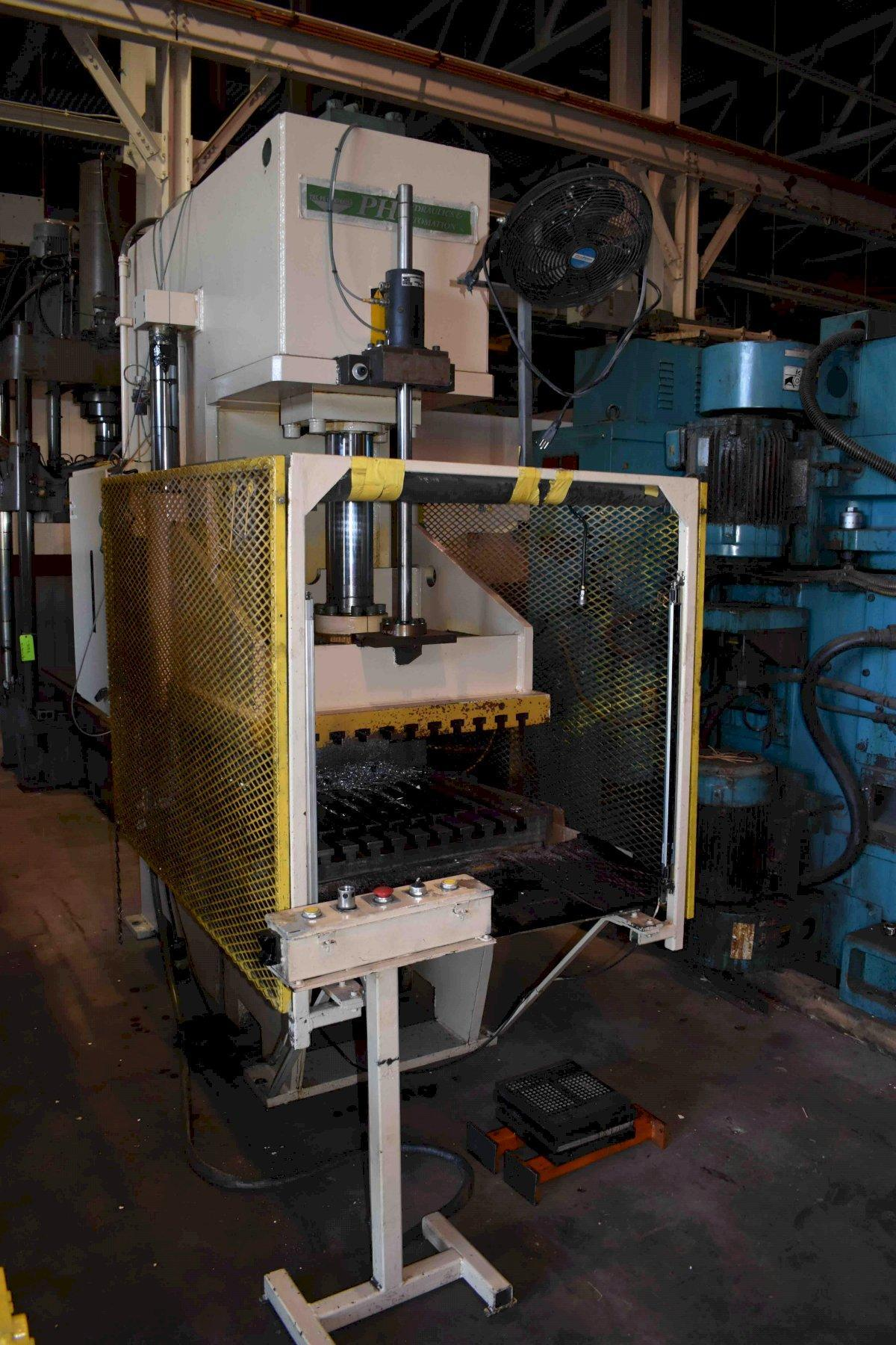 "50 TON PH HYDRAULICS MODEL OGP-50 GAP FRAME HYDRAULIC PRESS, 24"" STR, 30"" DLO, 38"" X 30"" BA, 1994"