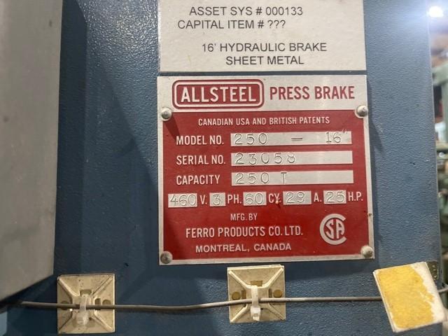 1 - PREOWNED ALLSTEEL HYDRAULIC PRESS BRAKE, MODEL #: 250T-16', S/N: 23058