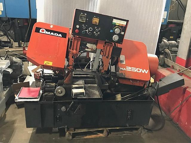 """10"""" x 10"""" AMADA AUTOMATIC HORIZONTAL BAND SAW, Model HA250A, Auto Stock Feed, Auto Down Feed, Multi Index Feed, 10 HP, 1-1/4"""" Wide Blade, Coolant, New 1997."""