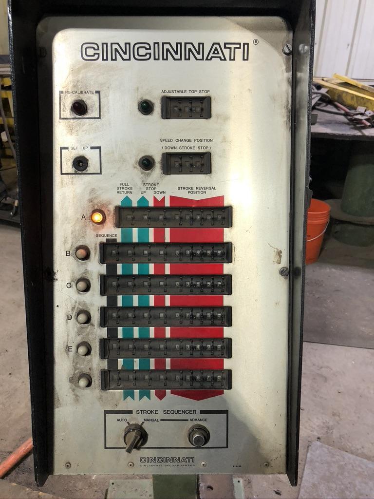 500 TON X 18/14' Cincinnati Hydraulic Press Brake,  Model 500FM X 14, new 1990, in plant under power