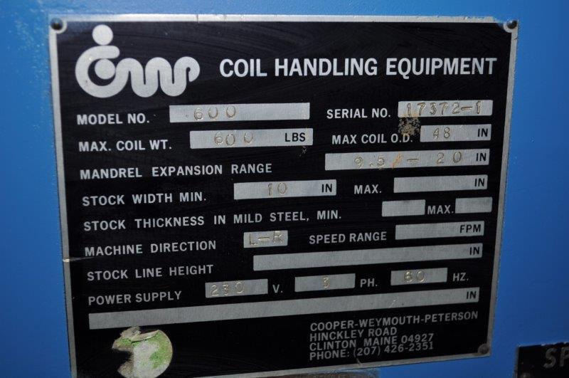 "600 LB x  10"" Cooper Weymouth Peterson Motorized Uncoiler"