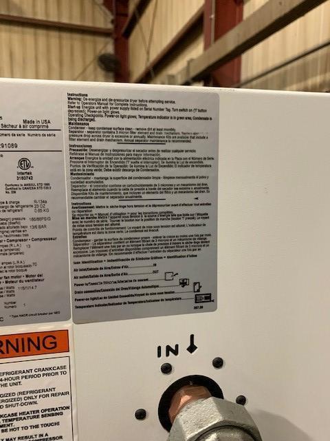 30 HP GARDNER-DENVER ROTARY SCREW AIR COMPRESSOR W/ GARDNER DENVER AIR DRYER AND SURGE TANK. STOCK # 0104421