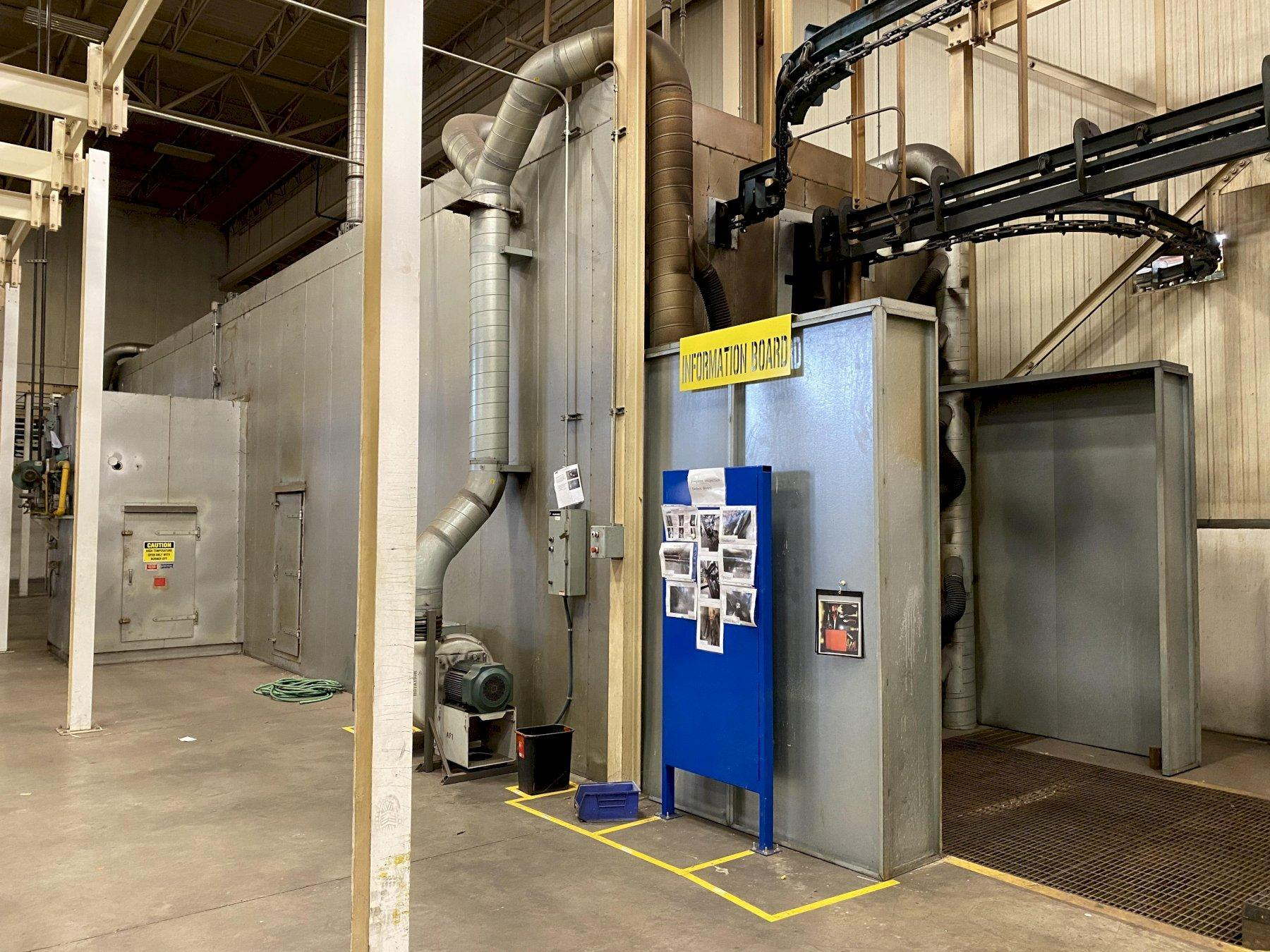 NORDSON POWDER COATING SYSTEM W/ KOCH 7 STAGE WASHER AND DRYER. STOCK # 0953721