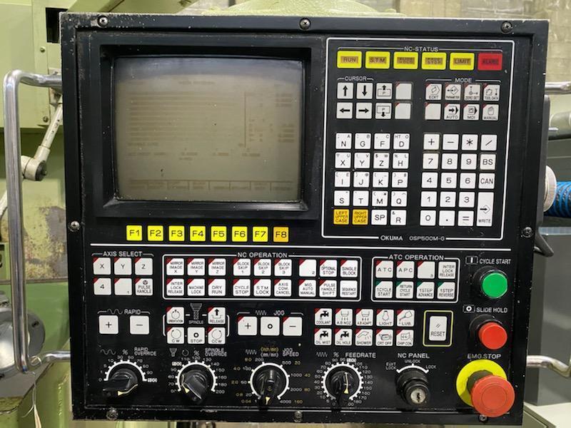"""OKUMA MC-3VA, OSP 500 CNC Control,13"""" x 30"""" Table Size, X=22"""", Y=14"""", Z=19"""" , 40 Taper, 6,000 Max Spindle RPM, 16 ATC."""