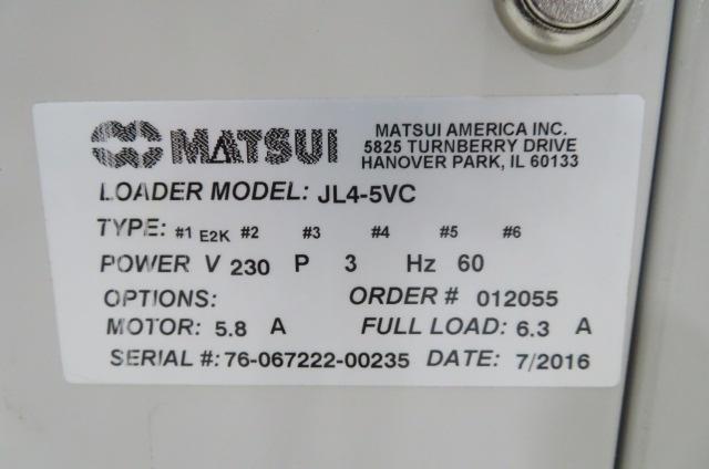 Matsui Used JL4-5VC Loader, 2hp, Single Material, 230V, Yr. 2016
