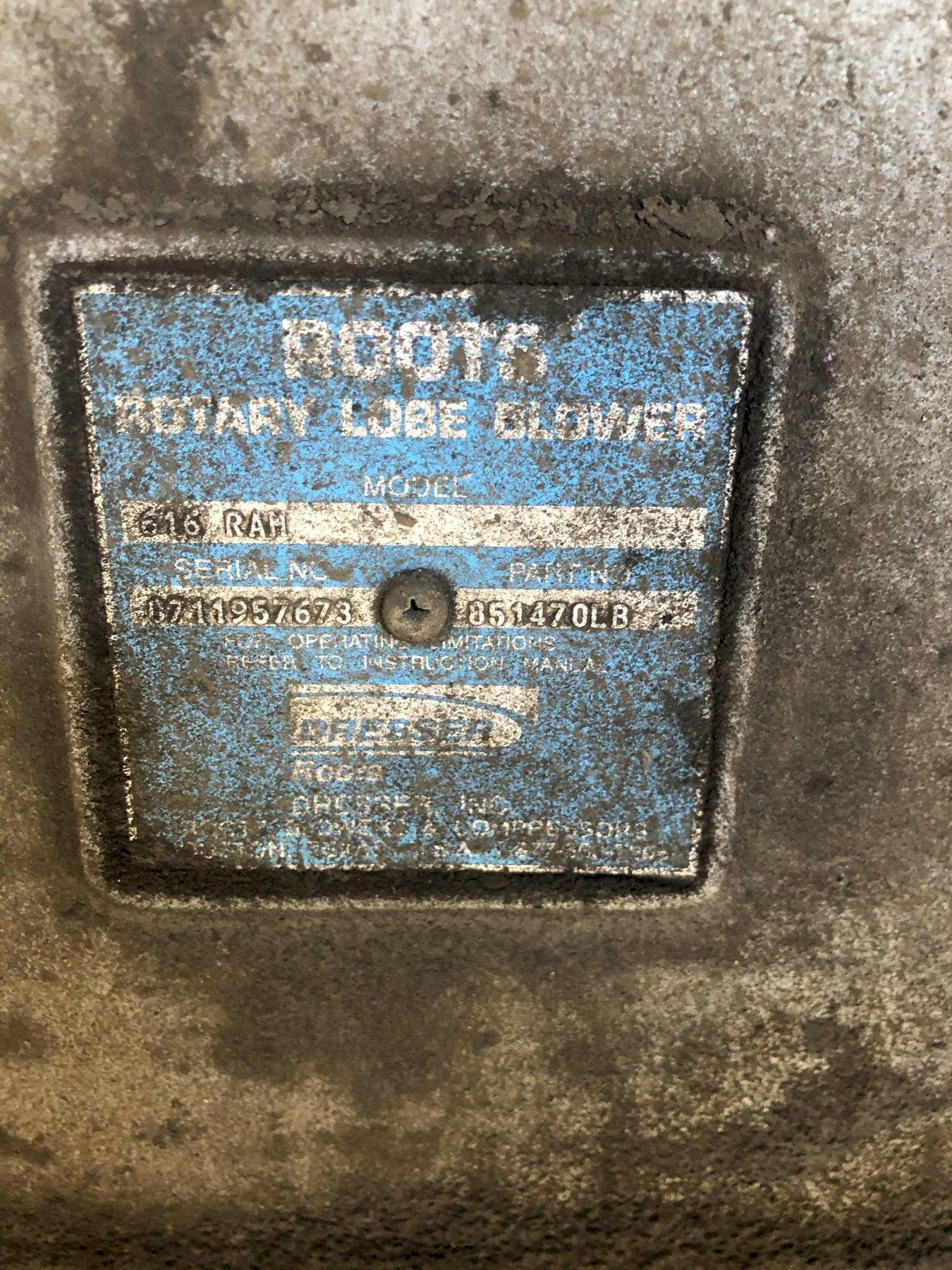 roots model 616 rah blower s/n 1711957673 and approx. 125 hp motor