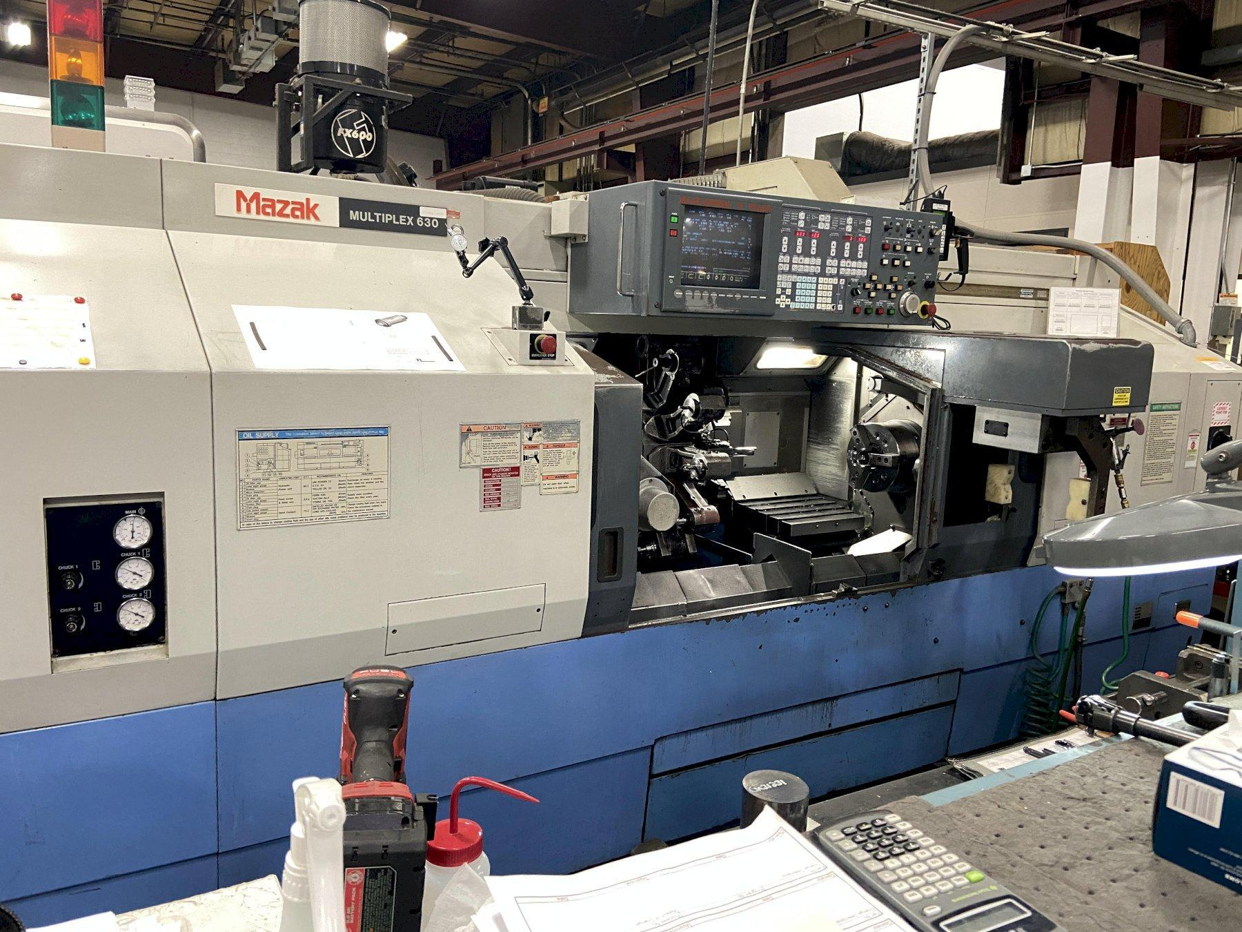 Mazak Multiplex 630 (5) Axis CNC Twin Spindle Lathe, Mazatrol T-Plus, Live Tooling, (2)10