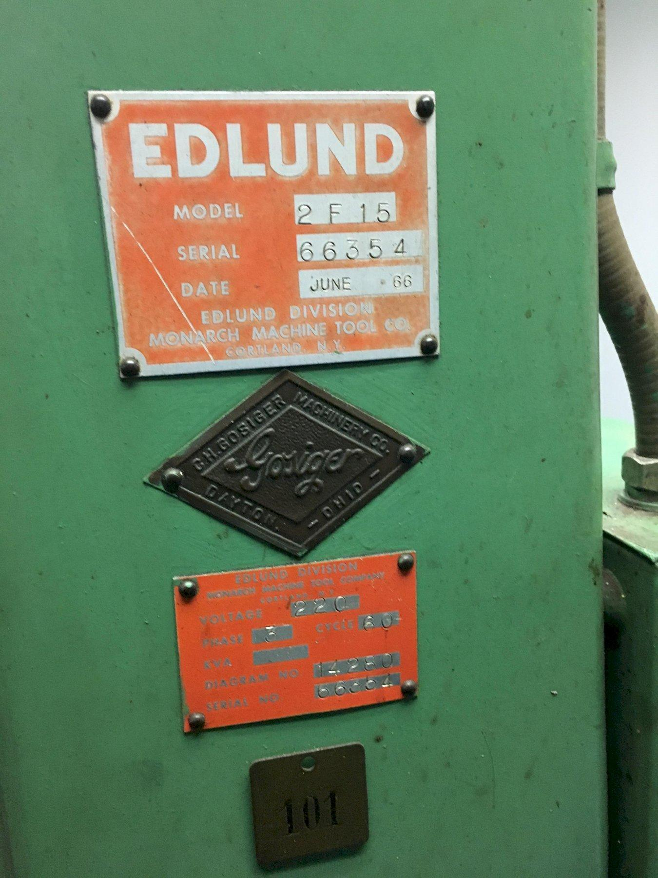 Edlund Model 2F-15 Drill Press, S/N 66354, with Motor Reversing Tapping Attachment.