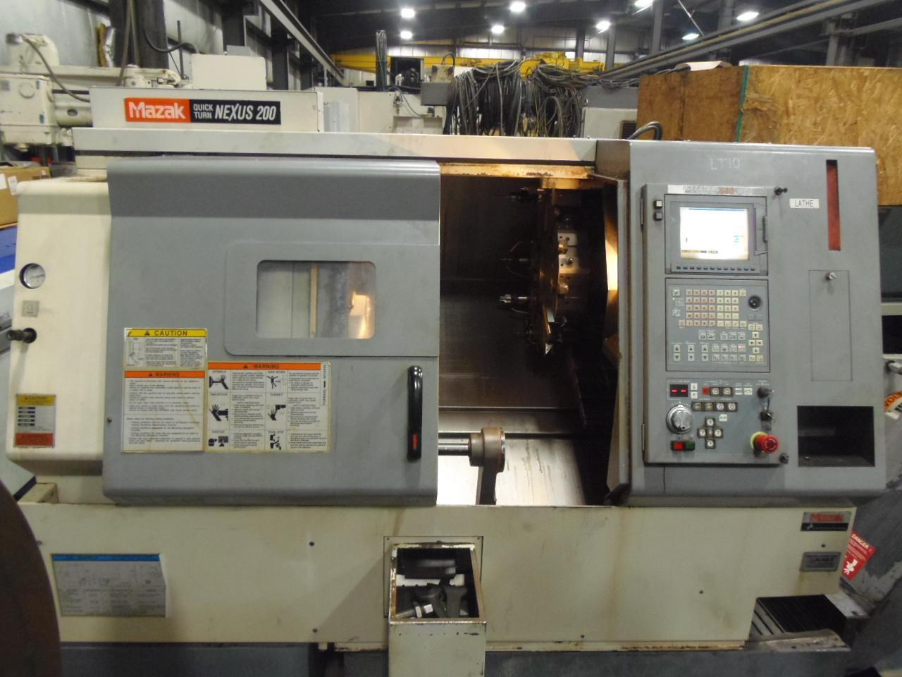 MAZAK QTN-200 CNC LATHE, 24 x 26, FUSION 640T CONTROL, IEMCA BARFEED, 2003