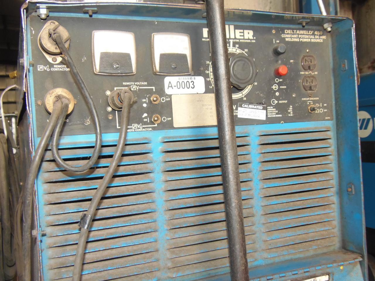 Miller 450 Amp Wire Feed Welder, Model Deltaweld 450 with D54D Wire feeder