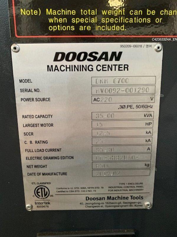 2019 Doosan DNM 6700 - Vertical Machining Center