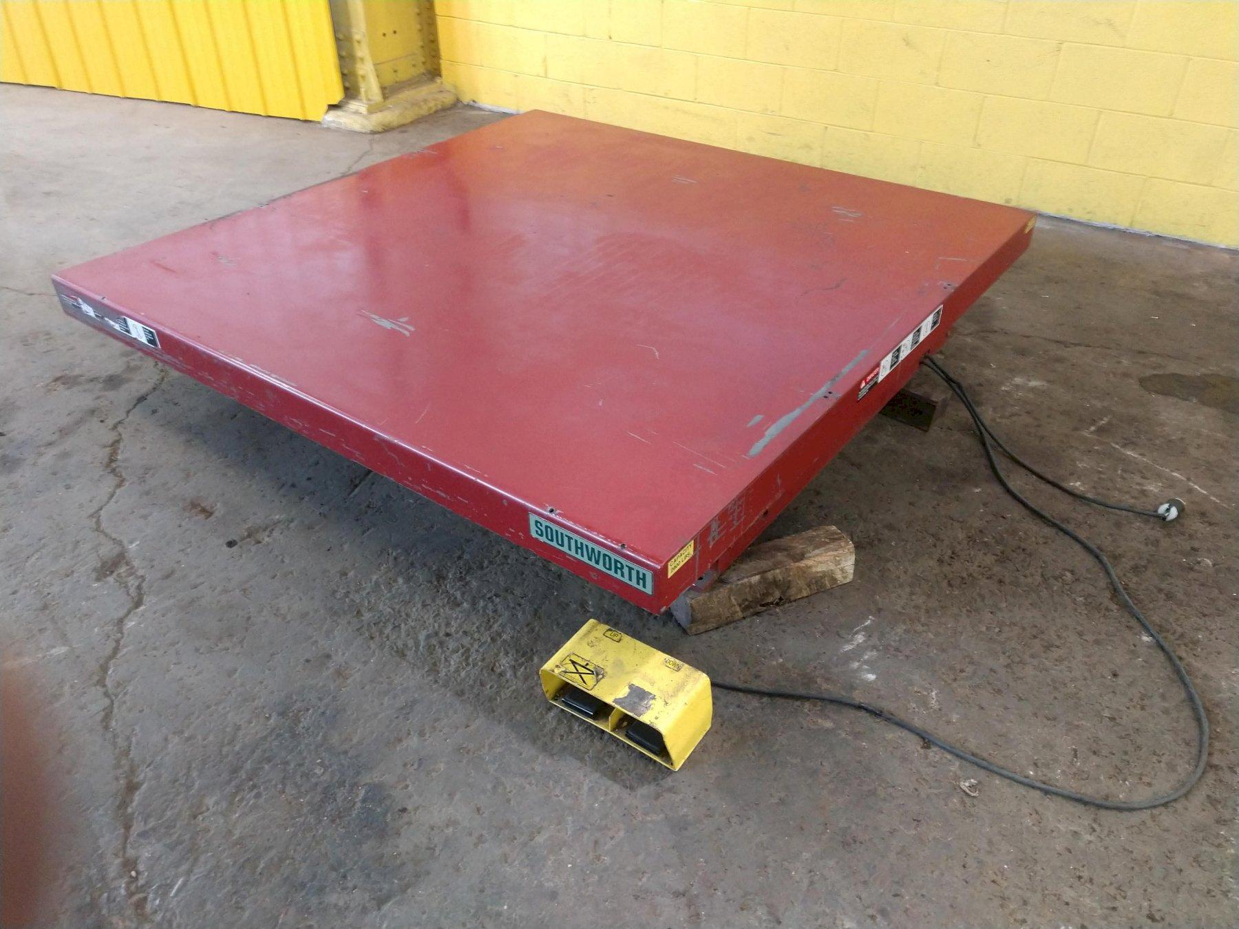 "2,000 LB X 72"" X 72"" SOUTHWORTH ELECTRIC SCISSOR LIFT TABLE: STOCK #13265"