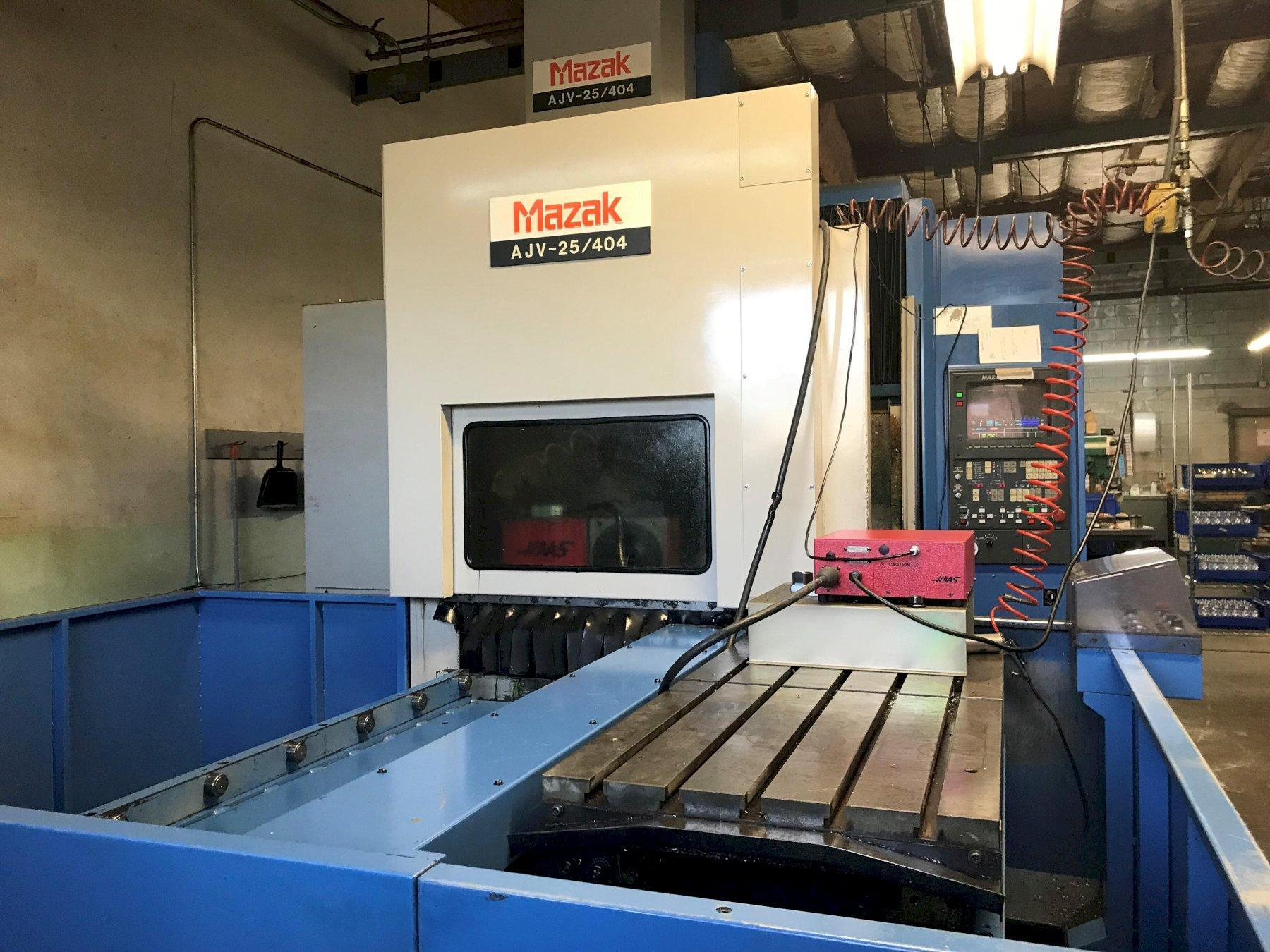 "Mazak AJV 25/404 Double Column VMC; 2 Pallet Changer, M-32 Control, 40"" x 20"" x 18"" Travels, Chip Conveyor"