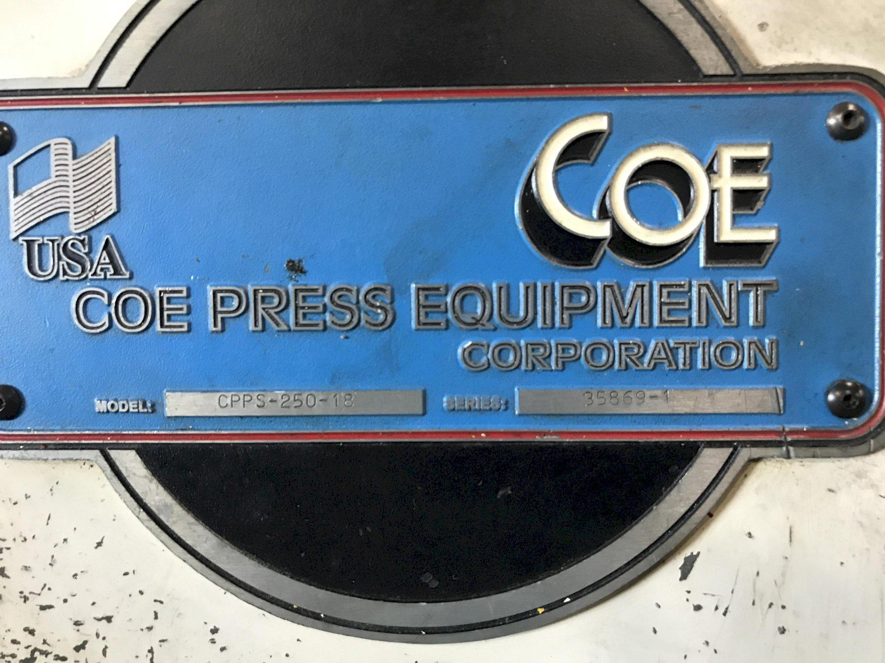 """10,000 LB x 18"""" WIDE COE PRESS EQUIPMENT COIL REEL AND STRAIGHTENER"""