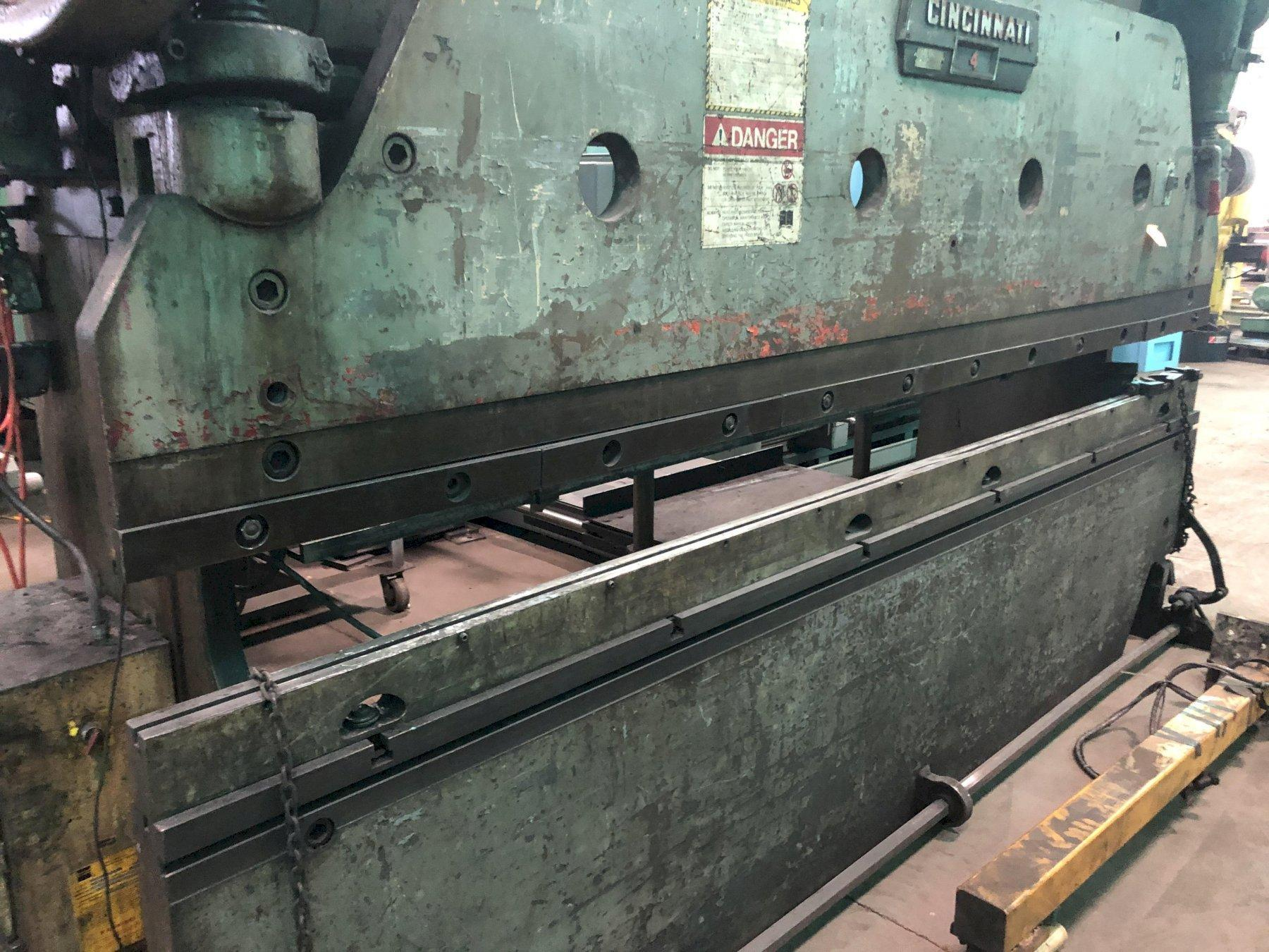 "100 Ton Cincinnati Press Brake No. 4, Mechanical, 12' O.A., 10'6"" B.H., 3"" Stroke, Hurco 5C Back Gauge, Low Price"