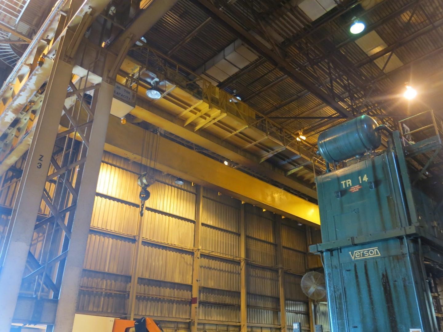 "30 Ton x 48' 1"" P&H Double Grinder Overhead Bridge Crane"