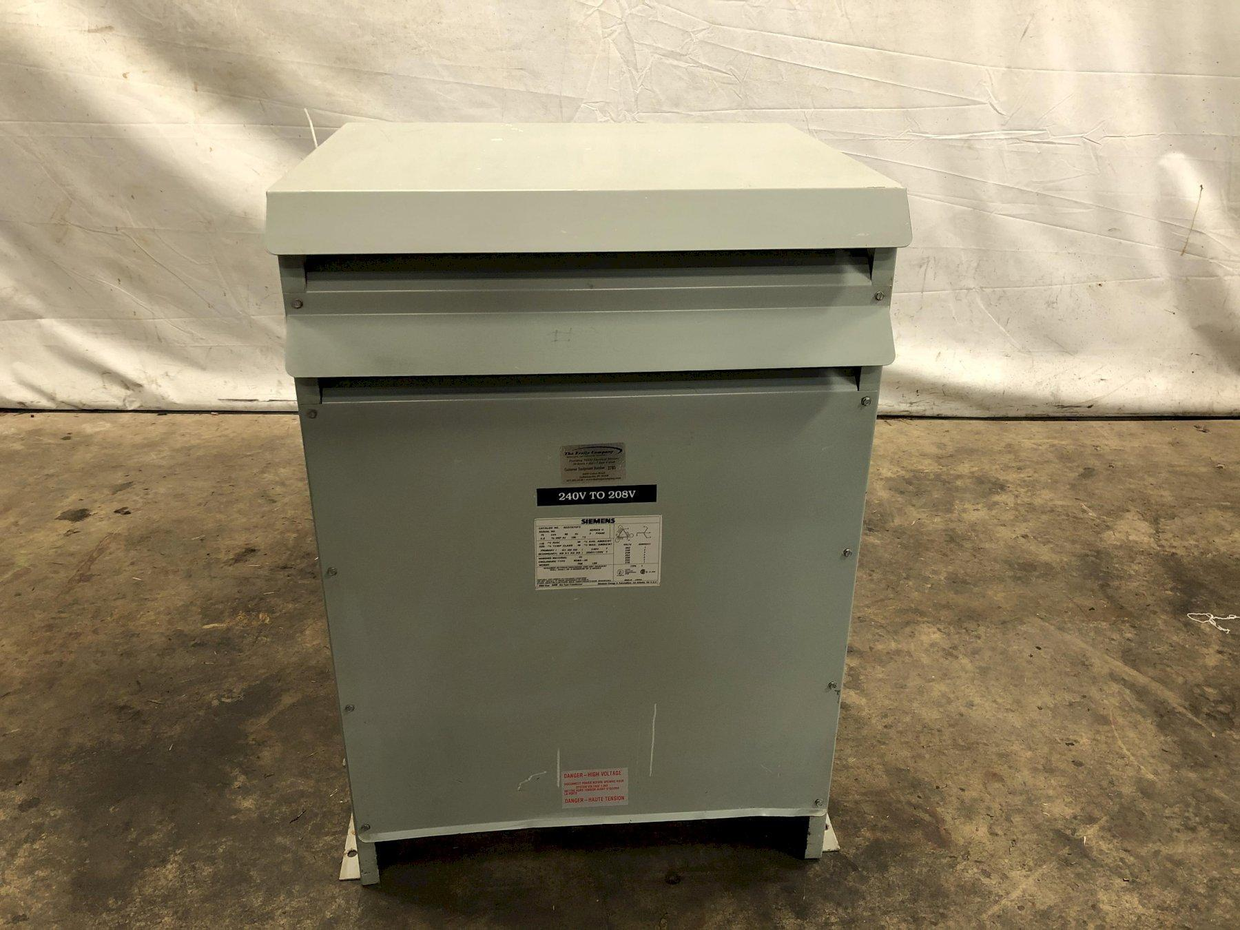 75 KVA 240 TO 208Y/120 VOLT 3 PHASE ELECTRIC POWER TRANSFORMER: STOCK #13766